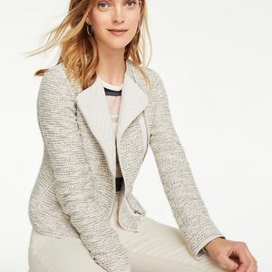 NWT Ann Taylor Tweed Quilted Moto Jacket